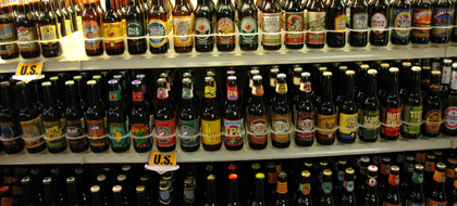 Rows and rows of beer