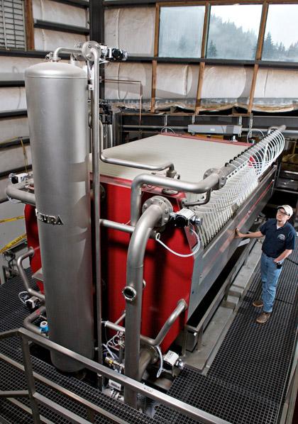Mash filter press at Alaskan Brewing