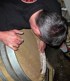 Vinnie Cilurzo repairing a barrel