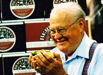 Bert Grant, pictured with fresh picked hops