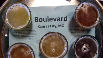 Boulevard beer flight at Flying Saucer in Kansas City