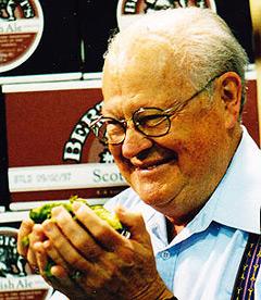 Bert Grant smells fresh Cascade hops
