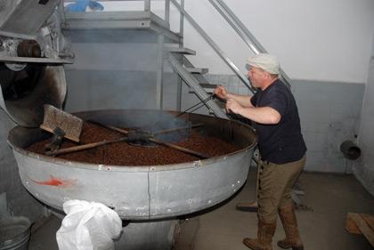 Roasting malt at Zywiec Brewery