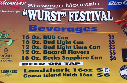 Beer menu at Pocono's Wurst Festival